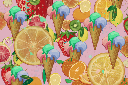 Seamless Pattern of ice cream in a cone and fruit