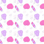 istock Seamless pattern of ice creams of different shapes in pink and purple colors. Cartoon style vector illustration. Hand drawn doodle style. 1310876713