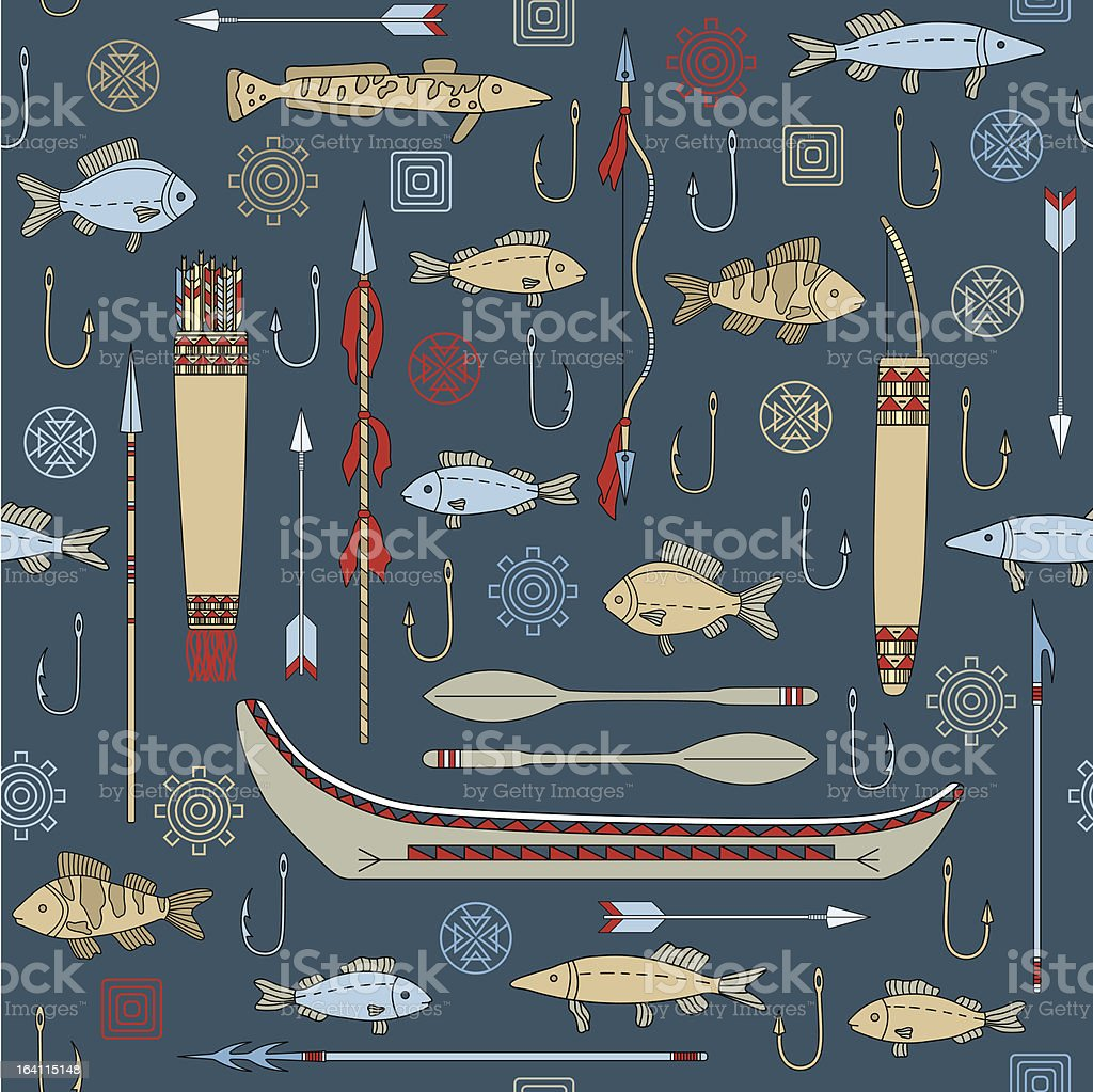 seamless pattern of Indian fishing royalty-free seamless pattern of indian fishing stock vector art & more images of archery bow