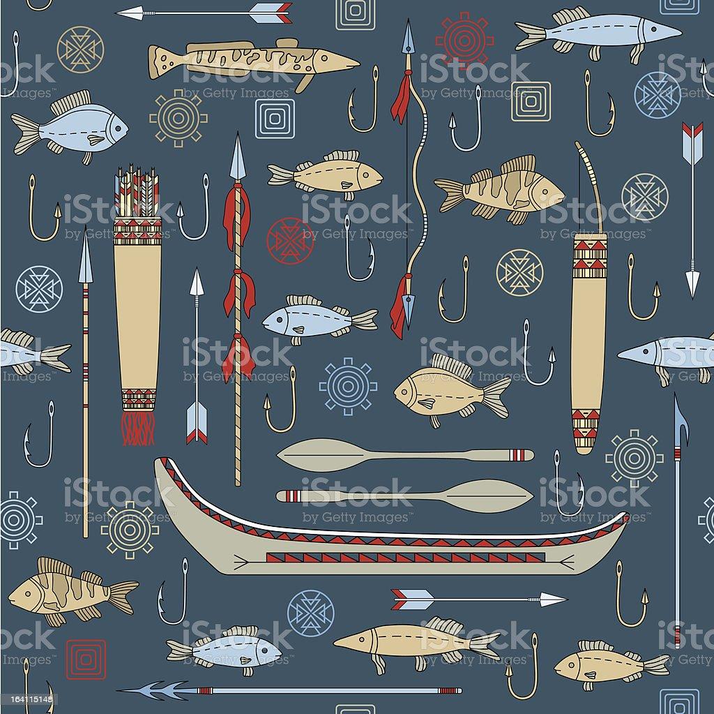 seamless pattern of Indian fishing vector art illustration