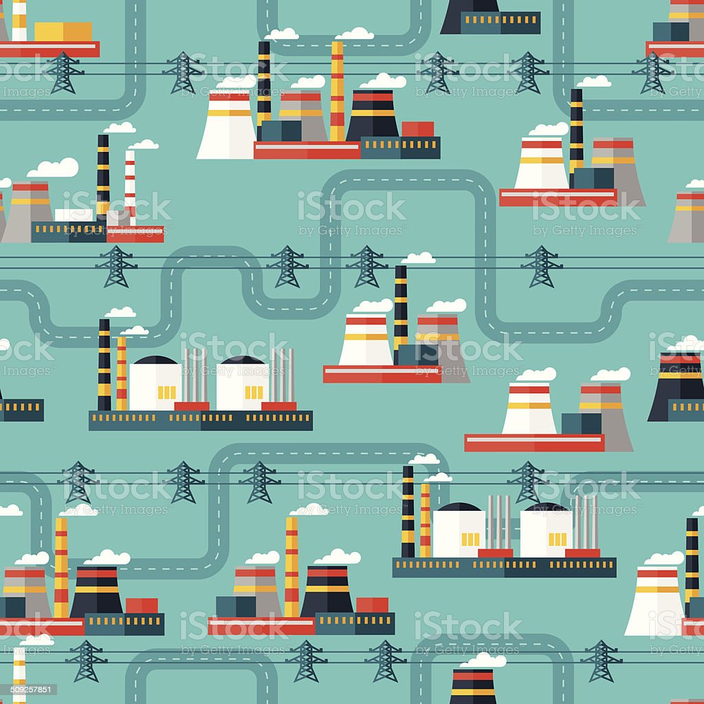 Seamless pattern of industrial power plants in flat style. royalty-free stock vector art