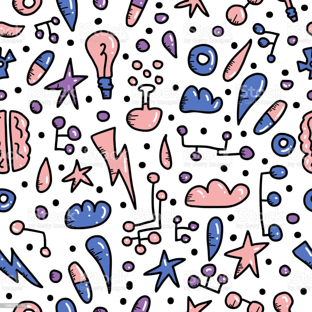 Seamless pattern of innovation concept in doodle style. Vector...