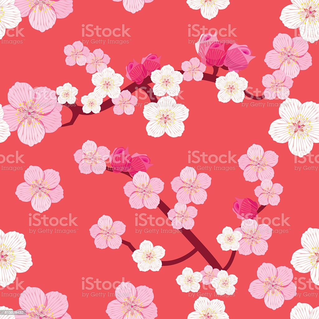 seamless pattern of Japanese flowering cherry tree branches with vector art illustration