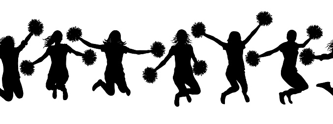 Seamless pattern of jumping girls with pom-pom (cheerleaders) silhouettes. Vector illustration