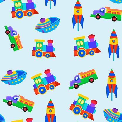 Seamless pattern of kids toys truck, rocket, ship, train. Vector cartoon illustration.