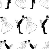 Vector background of loving bride and groom.