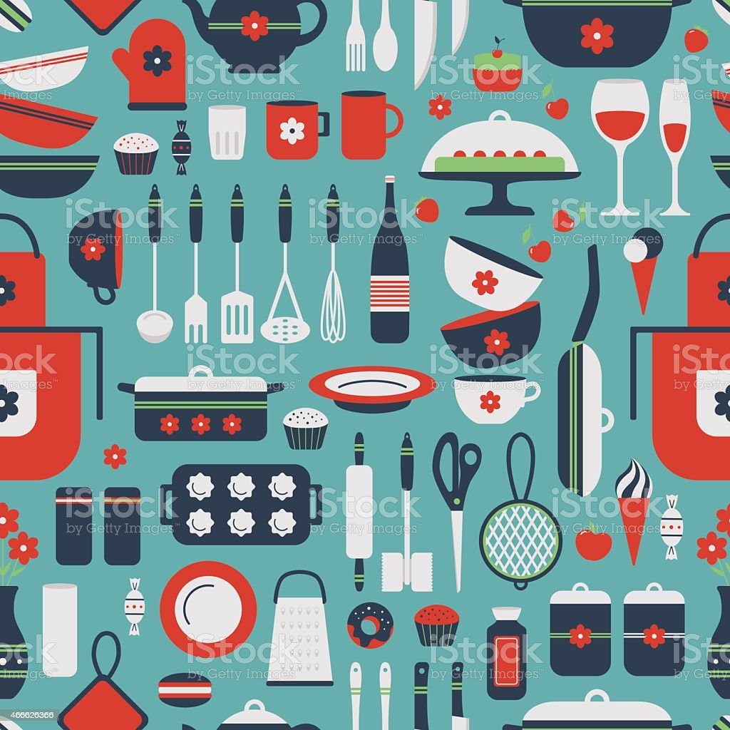 Seamless pattern of kitchen utensils. vector art illustration