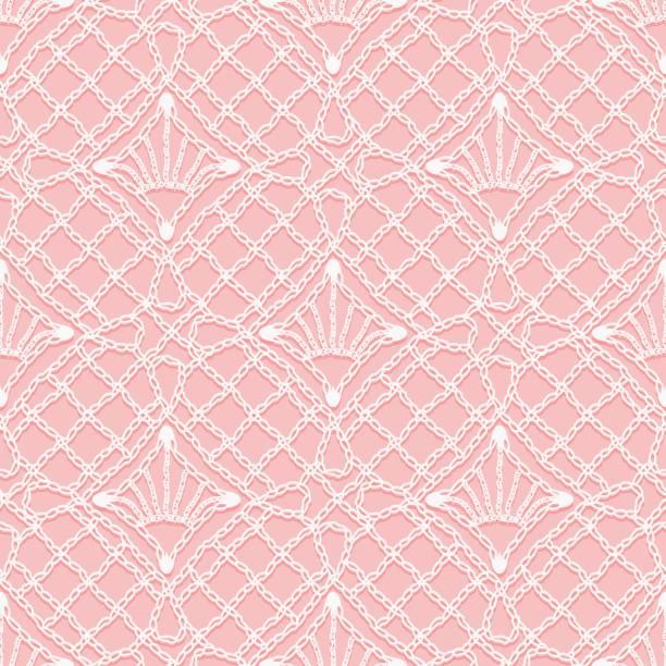 nahtlose muster gestrickt spitze. weiße bänder und fäden der verzierung auf einem rosa hintergrund. - gehäkelte lebensmittel stock-grafiken, -clipart, -cartoons und -symbole