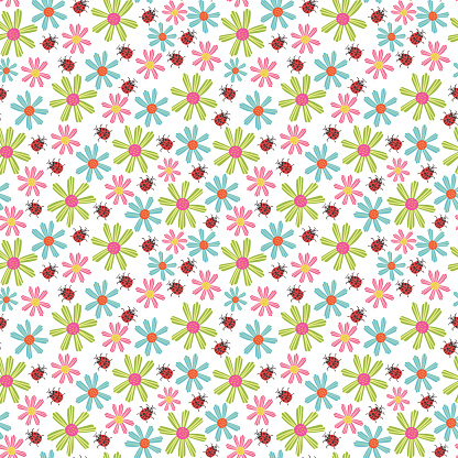 Seamless pattern of ladybug flowers. Vector background