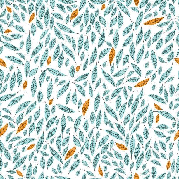 Seamless pattern of leaves Seamless pattern of leaves. Leaves are light blue and yellow lines with streaks. Base white. natural pattern stock illustrations