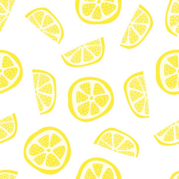 レモン スライスのカラー イラストのシームレス パターン - レモン点のイラスト素材/クリップアート素材/マンガ素材/アイコン素材