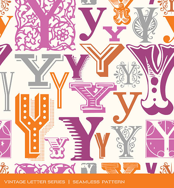 Seamless Pattern Of Letter Y In Retro Styles And Colors Vector Art Illustration