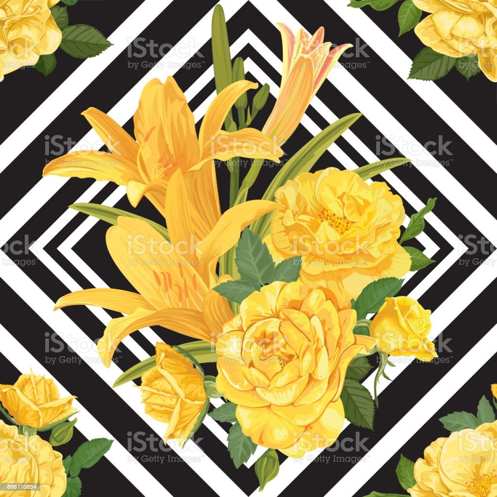 Seamless pattern of lilies flower with yellow rose on black and seamless pattern of lilies flower with yellow rose on black and white graphic geometric background izmirmasajfo