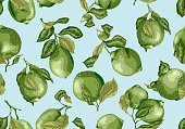 Seamless Pattern of limes amd lemon fruits. There are leaves and fruits on the branches