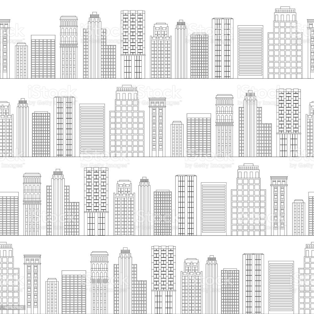 Seamless pattern of line skyscrapers. Black and white vector art illustration