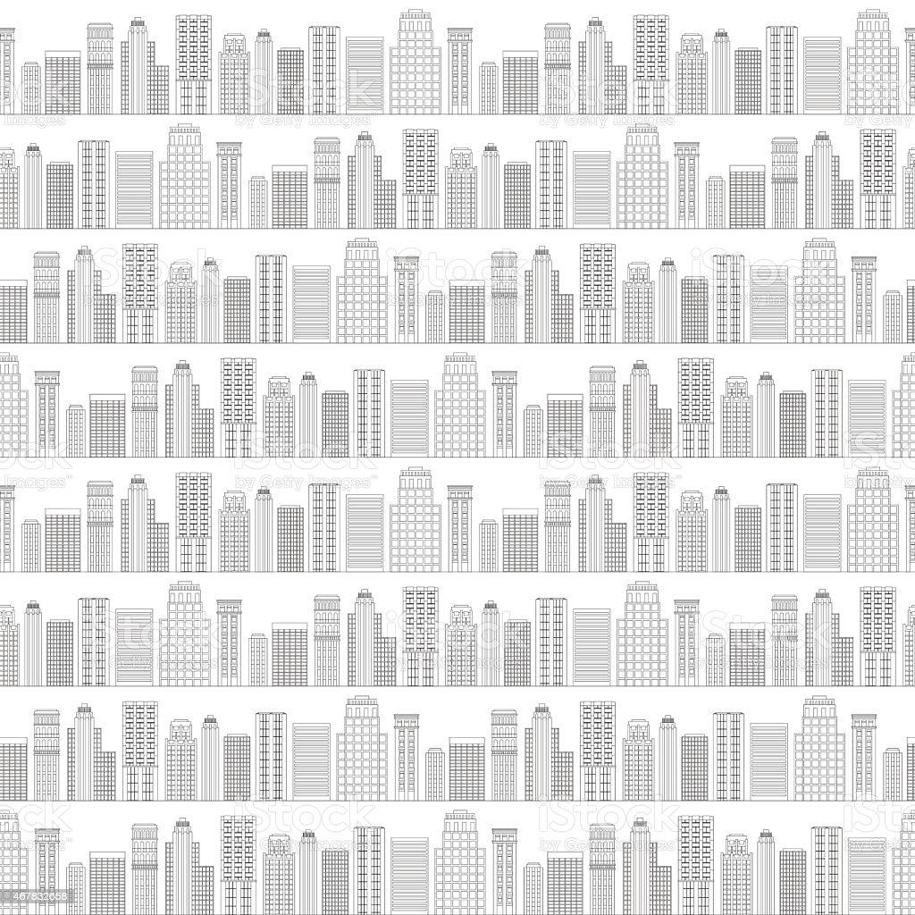 Бесшовный узор из линий небоскребы. Черный и белый векторная иллюстрация
