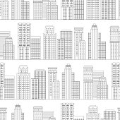 Vector illustration Seamless pattern of line skyscrapers. Black and white