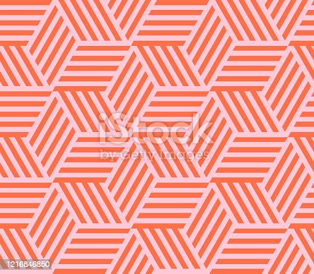 istock Seamless pattern of linear cube. Endless cubic background. Vector illustration. 1216846850