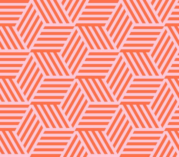 stockillustraties, clipart, cartoons en iconen met naadloos patroon van lineaire kubus. eindeloze kubieke achtergrond. vectorillustratie. - pattern
