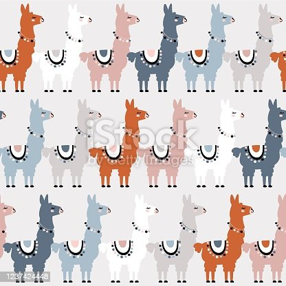 Seamless pattern of llama. Great for fabric, textile. Vector background