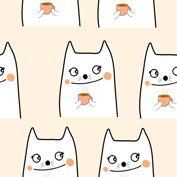 Seamless pattern of lovely cat and cup of coffee cute cartoon pattern  design vector eps.10 vector art illustration