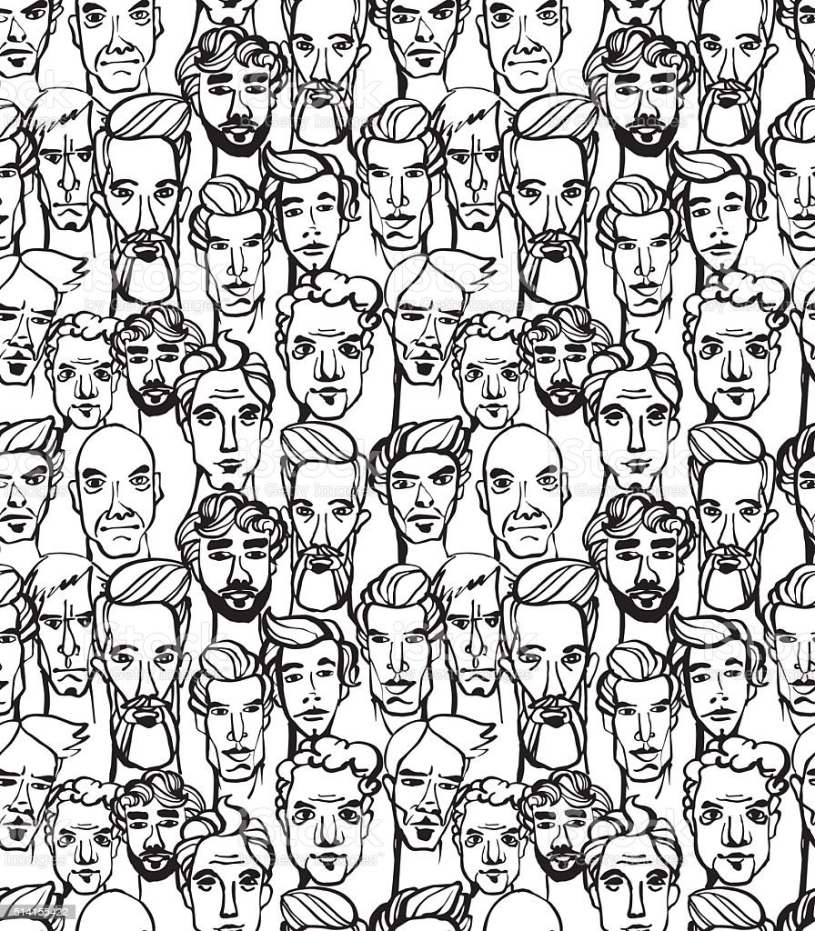 Seamless pattern of male doodle hand drawn portraits. - Royalty-free Abstract vectorkunst