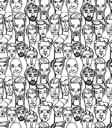 Seamless Pattern Of Male Doodle Hand Drawn Portraits Stockvectorkunst en meer beelden van Abstract