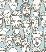 Seamless pattern of male doodle hand drawn portraits.