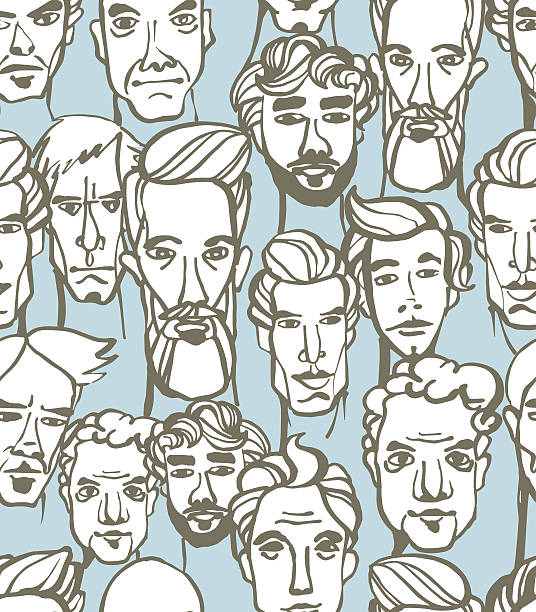 stockillustraties, clipart, cartoons en iconen met seamless pattern of male doodle hand drawn portraits. - portait background