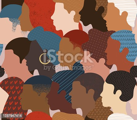 istock Seamless pattern of many different people profile heads. 1237947414