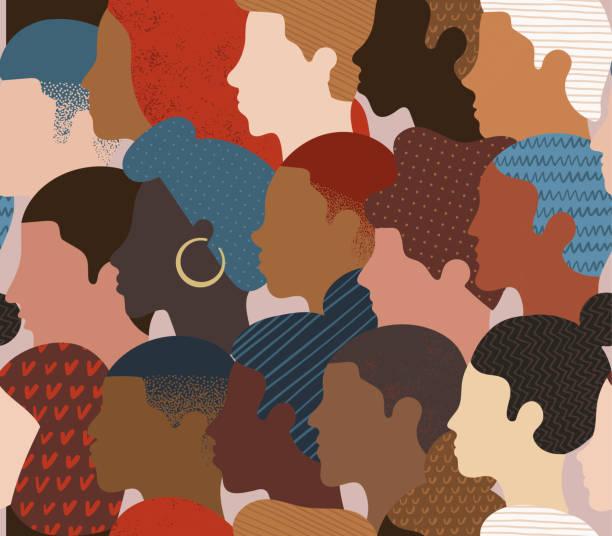 많은 다른 사람들의 원활한 패턴은 머리를 프로파일. - diversity stock illustrations
