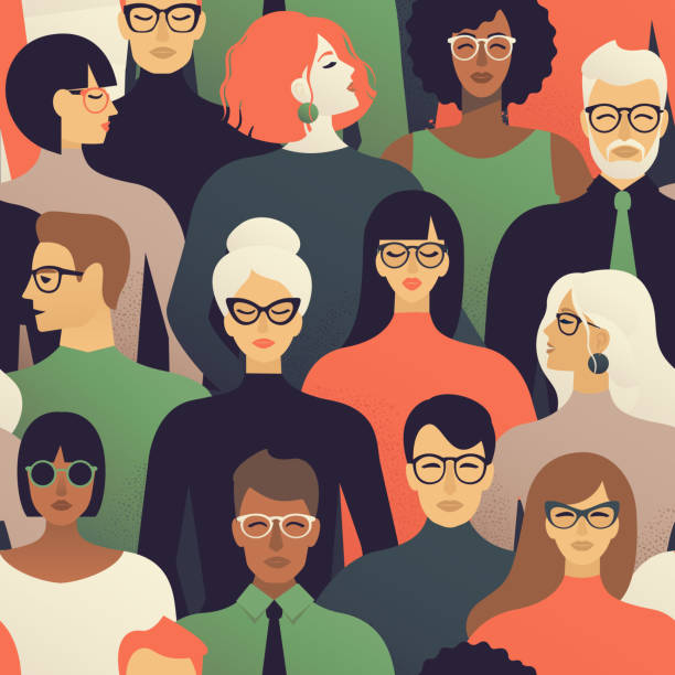 seamless pattern of many different people profile heads vector background. - female faces stock illustrations, clip art, cartoons, & icons