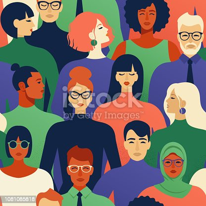istock Seamless pattern of many different people races and religions profile heads Vector background. 1081085818