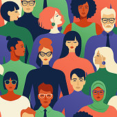 Seamless pattern of many different people races and religions profile heads Vector background.