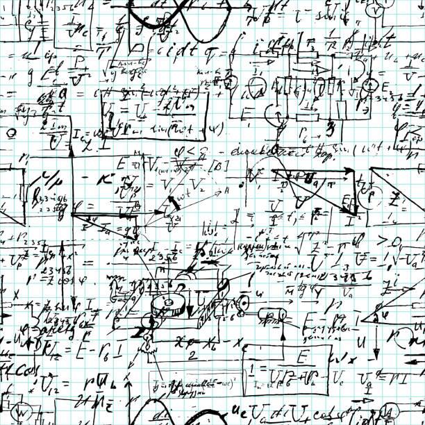 数学的な操作と方程式、無限お手本用紙に無限算術パターンのシームレスなパターン。手書きのレッスン。幾何学、数学、物理学、電子工学科目。 - 数学の授業点のイラスト素材/クリップアート素材/マンガ素材/アイコン素材