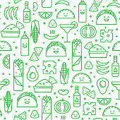 Seamless pattern of Mexican food, line style.