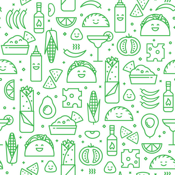Seamless pattern of Mexican food, line style. Seamless iconic pattern of Mexican cuisine with typical traditional food and drink, like taco, burrito and vegetables. Fun modern line art background. avocado designs stock illustrations
