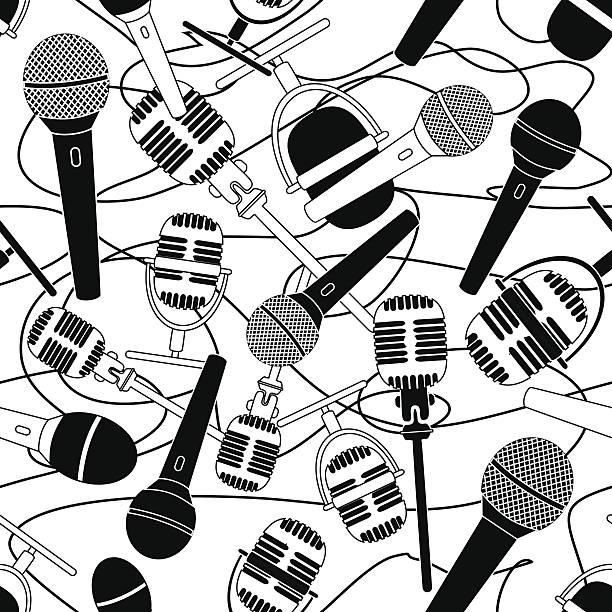 illustrations, cliparts, dessins animés et icônes de motif sans couture de micros - interview