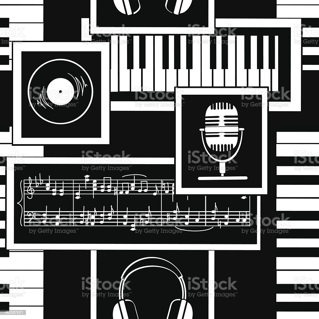 Seamless pattern of musical attributes vector art illustration