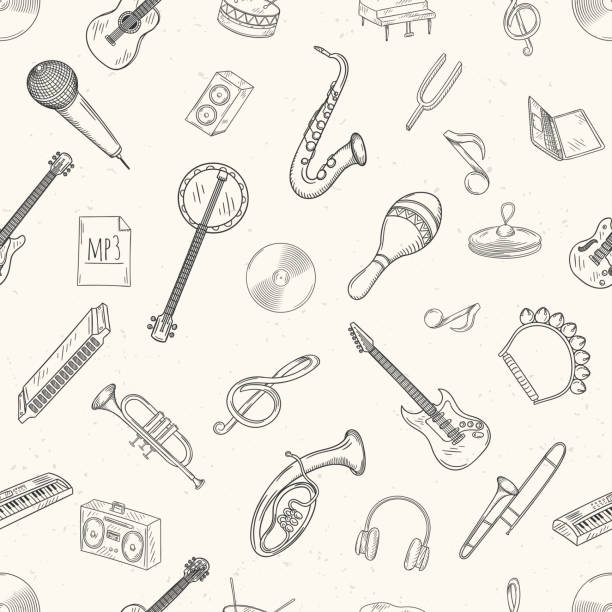stockillustraties, clipart, cartoons en iconen met seamless pattern of musical instruments. - castagnetten