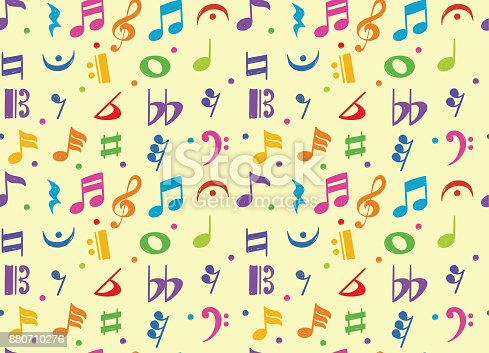Seamless pattern of colorful musical note doodle symbol