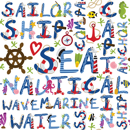 seamless pattern of nautical words