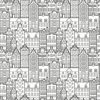 Seamless pattern of old European city. Holland houses facades in traditional Dutch style. The Decorative Architecture of Amsterdam. Black and white background