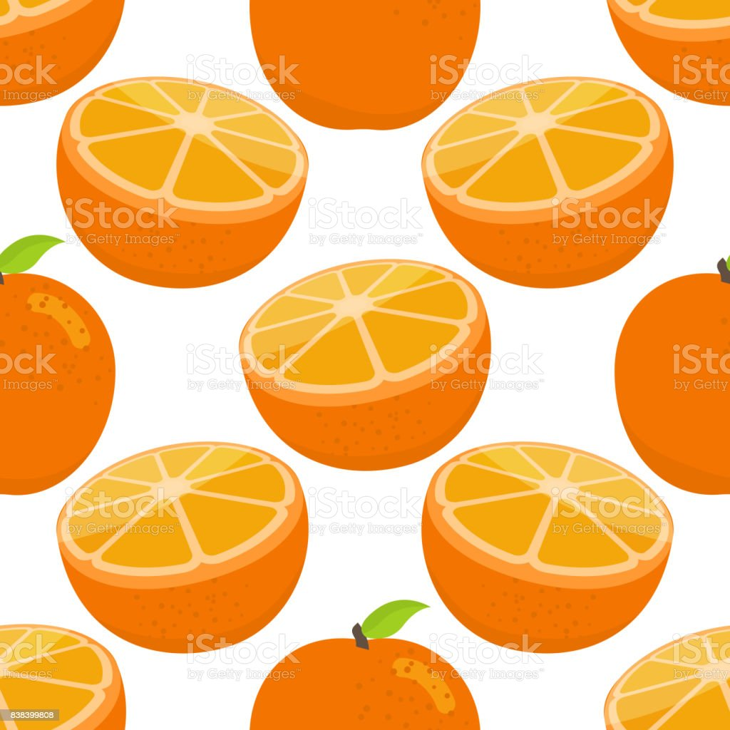 Seamless pattern of oranges, cartoon illustration. Vector
