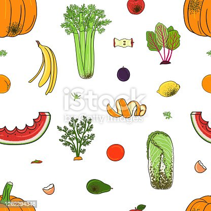 istock Seamless pattern of organic compost garbage. Rot fruits and vegetables. 1262294348