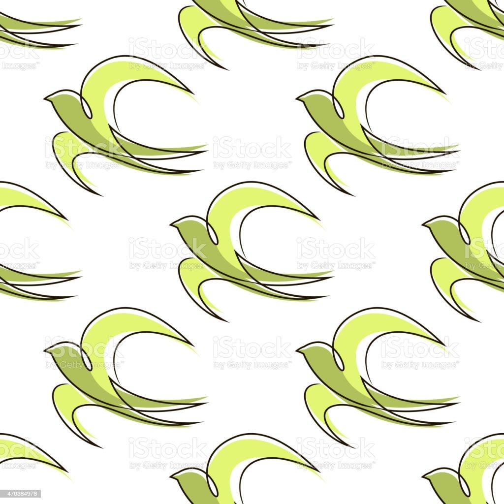 sem costura padrão abstrato de contorno swallow pássaros vetor e
