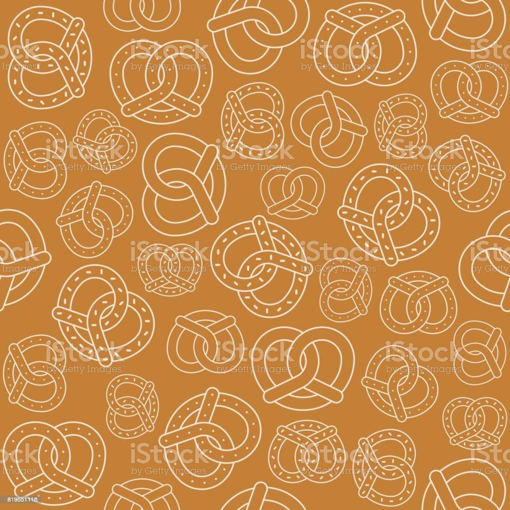 Nahtlose Muster der Gliederung Brezel – Vektorgrafik