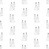 Seamless pattern of outlines happy young newlyweds.