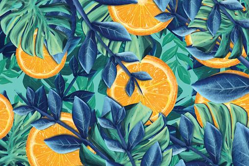 Seamless pattern of palm leaf and orange