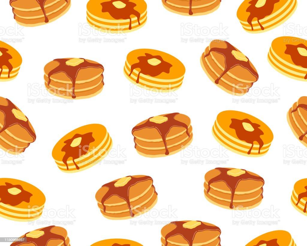 白い背景にバターとメープルシロップの甘いパンケーキのシームレスなパターン - おやつのロイヤリティフリーベクトルアート